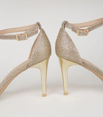 shop for Gold Glitter 2 Part Stiletto Heels New Look Vegan at Shopo