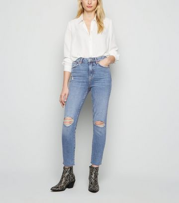 Blue Ripped Knee Relaxed Skinny Jeans