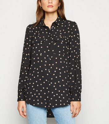Black Spot Utility Pocket Shirt by New Look