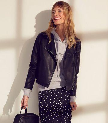 Black Coated Leather-Look Biker Jacket