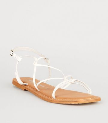 White Leather Strappy Flat Sandals
