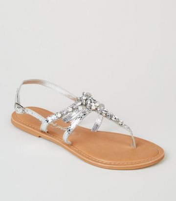 Silver Leather Metallic Diamanté Sandals