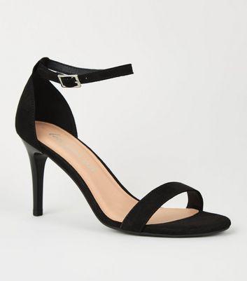 shop for Black Suedette 2 Part Stiletto Heels New Look Vegan at Shopo