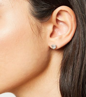 silver plated heart earrings with crystals from swarovski® new look