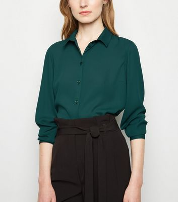 Dark Green Long Sleeve Shirt by New Look
