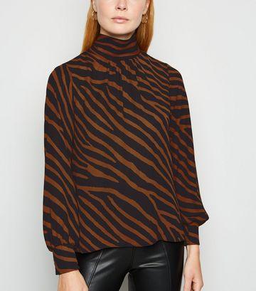 Rust Zebra Print Roll Neck Blouse