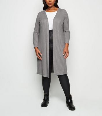 Curves Grey Ribbed Fine Knit Midi Cardigan by New Look
