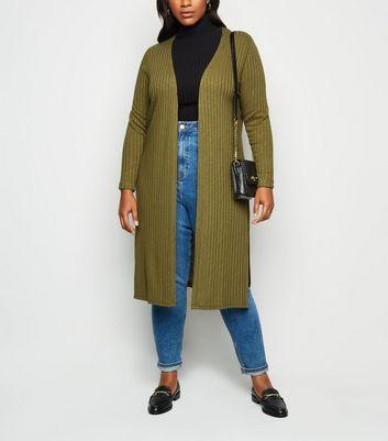 Curves Khaki Ribbed Fine Knit Midi Cardigan by New Look