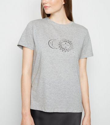 Grey Marl Sun and Moon Print T-Shirt