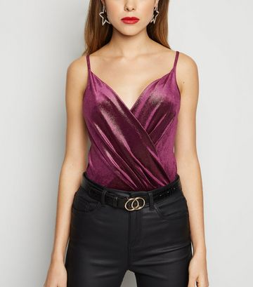 Purple Velvet Glitter Wrap Bodysuit
