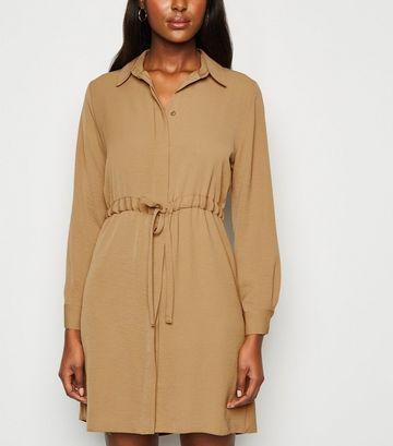 Camel Drawstring Waist Shirt Dress