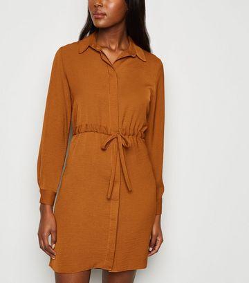 Rust Drawstring Waist Shirt Dress