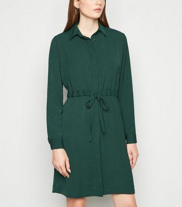 Green Drawstring Waist Shirt Dress