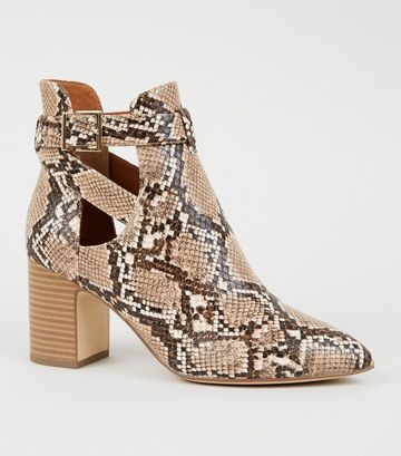Stone Faux Snake Cut Out Heeled Boots