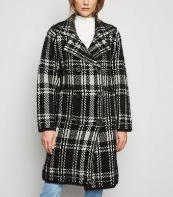 Blue Vanilla Black Check Double Breasted Cardigan New Look