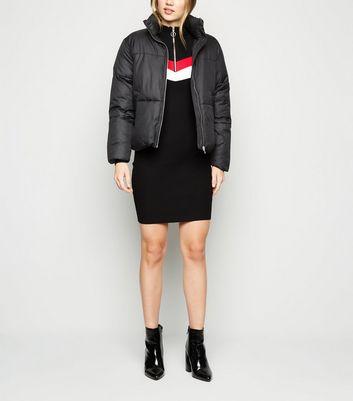 Cameo Rose Black Chevron Stripe Bodycon Dress New Look