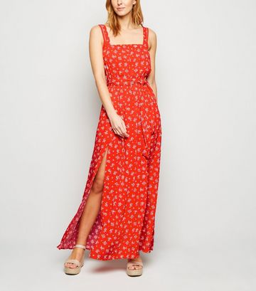 Red Ditsy Floral Maxi Beach Dress