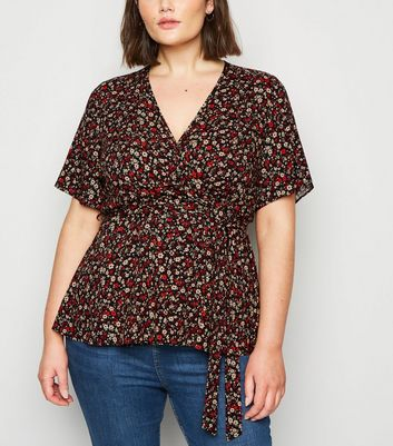 Curves Black Ditsy Floral Peplum Wrap Top by New Look
