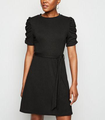 Black Ruched Sleeve Belted Mini Skater Dress