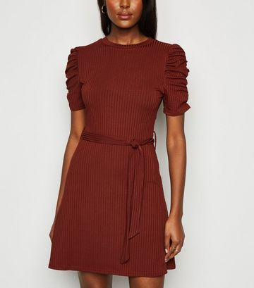 Rust Ruched Sleeve Belted Mini Skater Dress