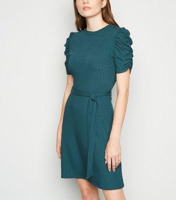 Teal Ruched Sleeve Belted Mini Skater Dress