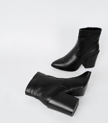 black leather-look heeled western boots new look