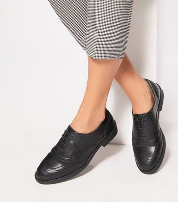 Black Leather-Look Brogues | New Look