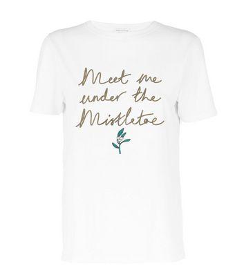 tall white metallic mistletoe slogan christmas t-shirt new look