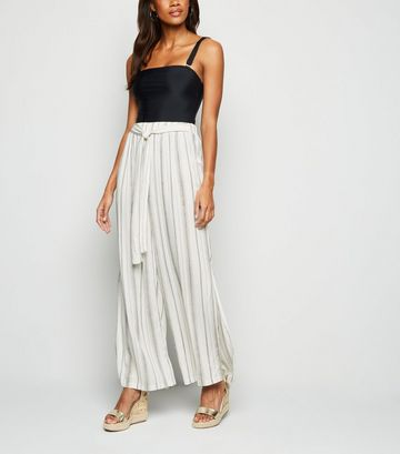 White Stripe Belted Beach Trousers