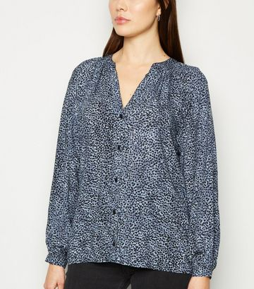 Blue Animal Print Long Sleeve Shirt