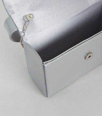 shop for Grey Patent Top Handle Box Clutch Bag New Look at Shopo