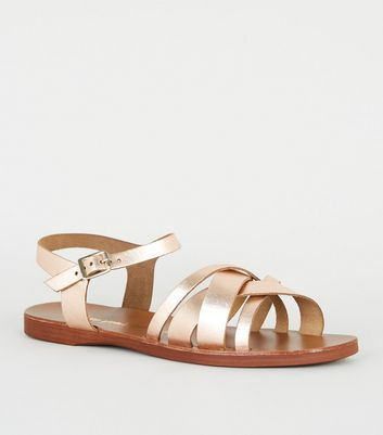 Wide Fit Rose Gold Leather Strappy