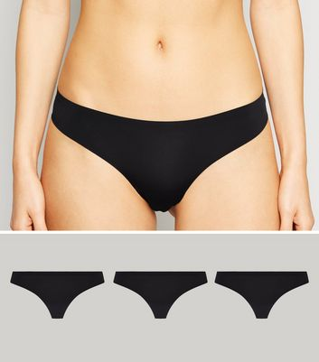3 Pack Black Seamless Thongs New Look