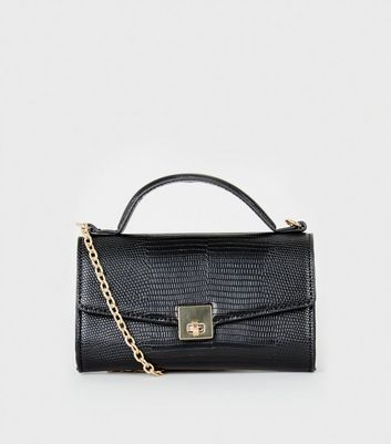 Black Faux Croc Tap Handle Shoulder Bag by New Look