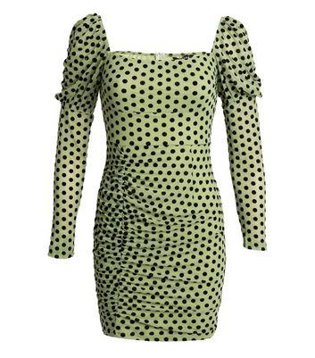 NaaNaa Green Spot Long Puff Sleeve Dress New Look