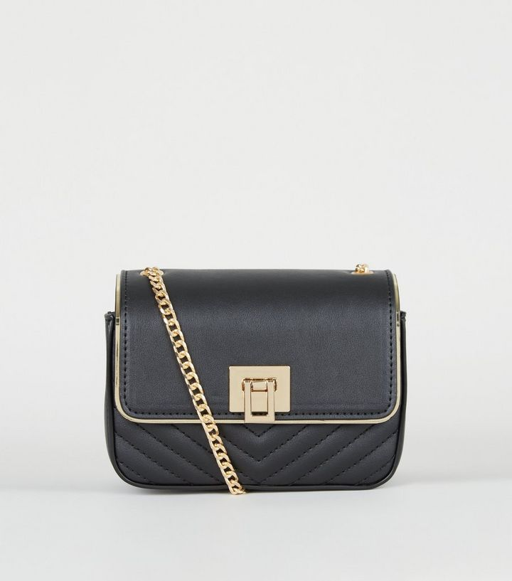 Black Leather Look Quilted Chain