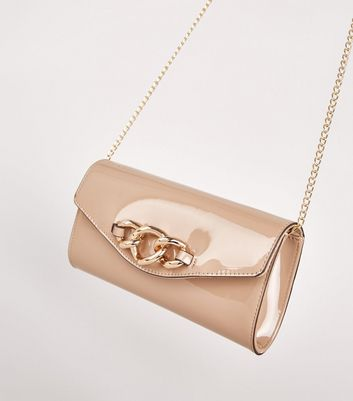 shop for Camel Patent Chunky Chain Clutch Bag New Look Vegan at Shopo