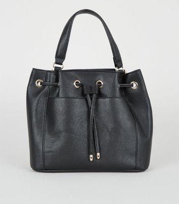 shop for Black Grab Handle Drawstring Duffle Bag New Look Vegan at Shopo