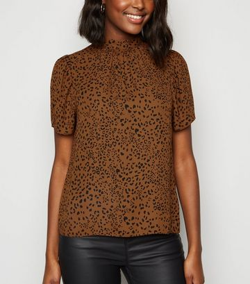 Brown Leopard Print Puff Sleeve Blouse