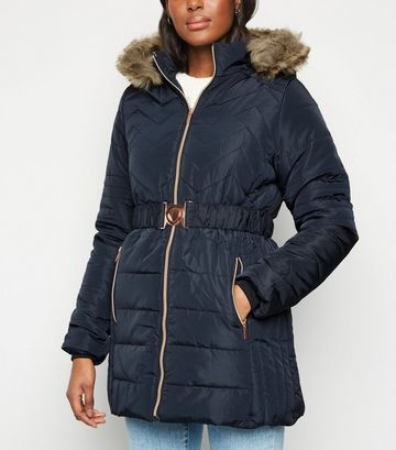 QED Navy Belted Quilted Puffer Jacket