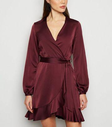 Burgundy Satin Ruffle Wrap Dress