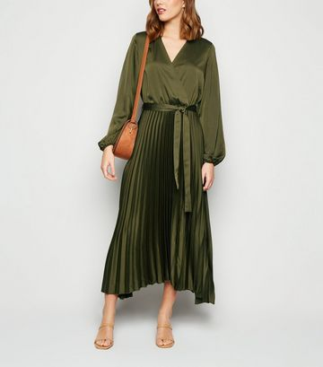 Green Satin Long Sleeve Wrap Midi Dress