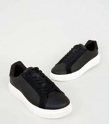 Black Chunky Sole Trainers   New Look