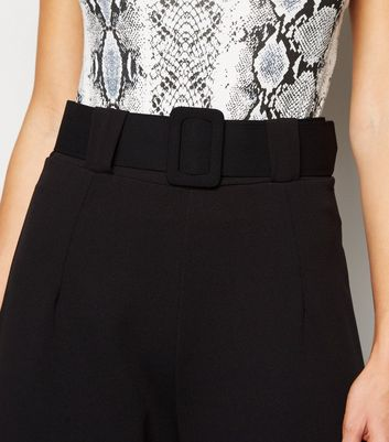 Cameo Rose Black Belted Wide Leg Trousers New Look