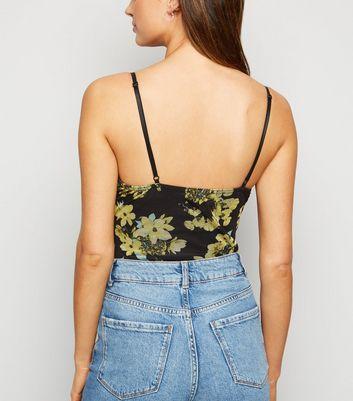 Urban Bliss Black Floral Mesh Bodysuit New Look