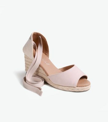 Click to view product details and reviews for Pale Pink Ankle Tie Peep Toe Espadrille Wedges New Look Vegan.
