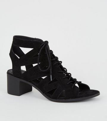 Black Suedette Lace Up Ghillie Sandals