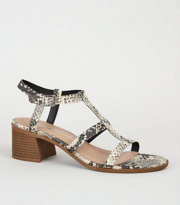 Stone Faux Snake Block Heel Gladiator Sandals