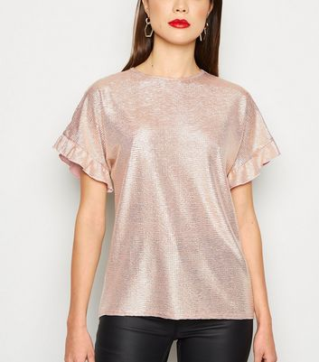 Pink Metallic Ruffle Sleeve Top by New Look