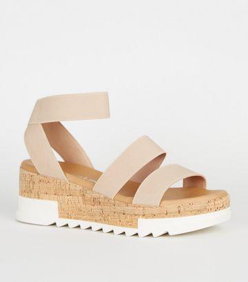 Pale Pink Elastic Strap Cork Flatform Sandals